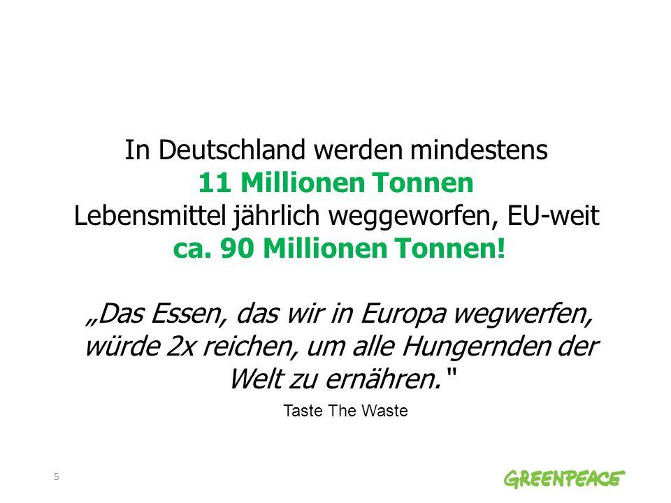 In Deutschland werden mindestens 11 Millionen Tonnen Lebensmittel jährlich weggeworfen, EU-weit ca. 90 Millionen Tonnen! Das Essen, das wir in Europa