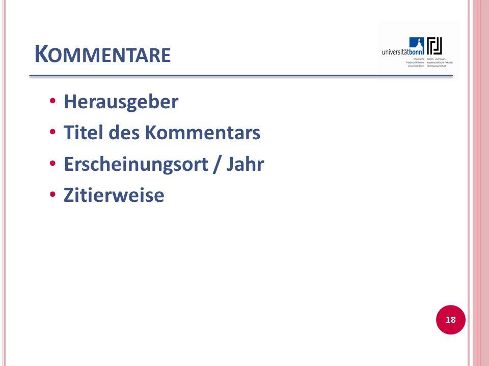 B EISPIELE I Staudinger, Julius von (Begr.)Kommentar zum Bürgerlichen Gesetzbuch mit Einführungsgesetz und Nebengesetzen Buch 2 Recht der Schuldverhältnisse Einleitung zum Schuldrecht, Treu und Glauben Neubearbeitung Berlin 2005 (zit.: Staudinger / Bearbeiter, § …, Rn..) Palandt, Otto (Begr.)Bürgerliches Gesetzbuch Kommentar 72.