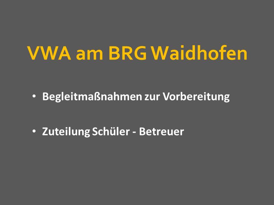 VWA am BRG Waidhofen Begleitmaßnahmen zur Vorbereitung Zuteilung Schüler - Betreuer