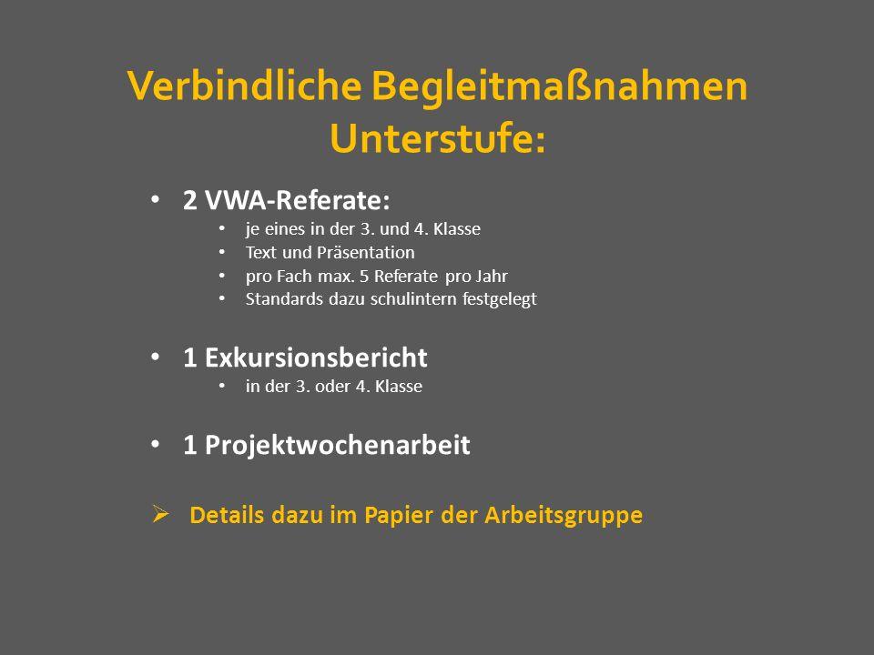 Verbindliche Begleitmaßnahmen Unterstufe: 2 VWA-Referate: je eines in der 3. und 4. Klasse Text und Präsentation pro Fach max. 5 Referate pro Jahr Sta