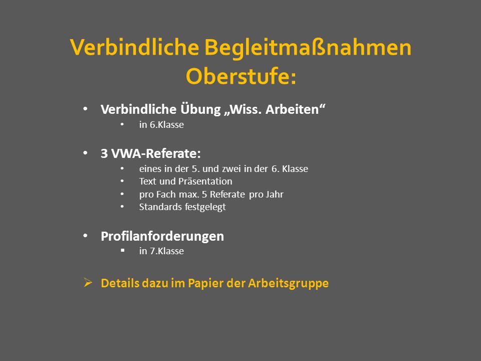 Verbindliche Begleitmaßnahmen Oberstufe: Verbindliche Übung Wiss. Arbeiten in 6.Klasse 3 VWA-Referate: eines in der 5. und zwei in der 6. Klasse Text