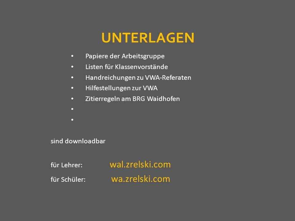 UNTERLAGEN Papiere der Arbeitsgruppe Listen für Klassenvorstände Handreichungen zu VWA-Referaten Hilfestellungen zur VWA Zitierregeln am BRG Waidhofen