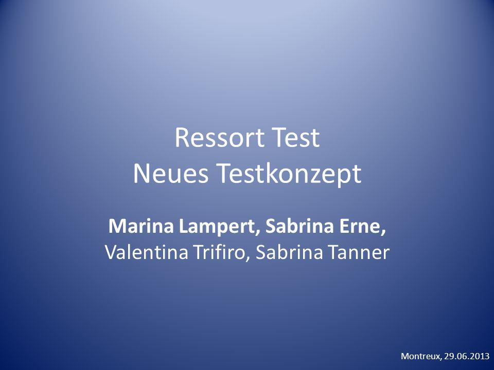 Ressort Test Neues Testkonzept Marina Lampert, Sabrina Erne, Valentina Trifiro, Sabrina Tanner Montreux, 29.06.2013