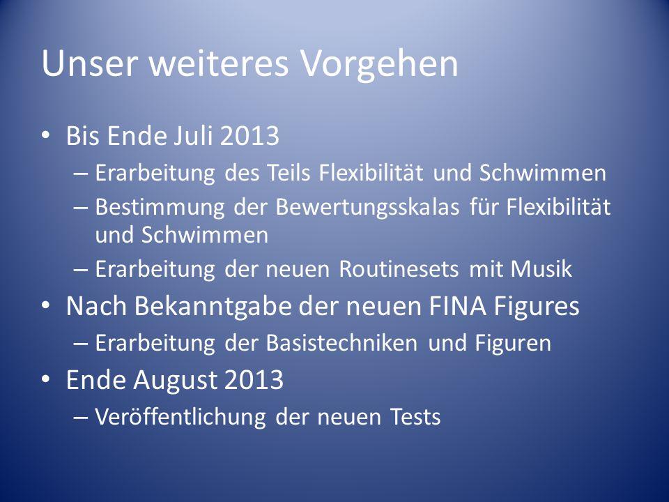 Unser weiteres Vorgehen Bis Ende Juli 2013 – Erarbeitung des Teils Flexibilität und Schwimmen – Bestimmung der Bewertungsskalas für Flexibilität und S