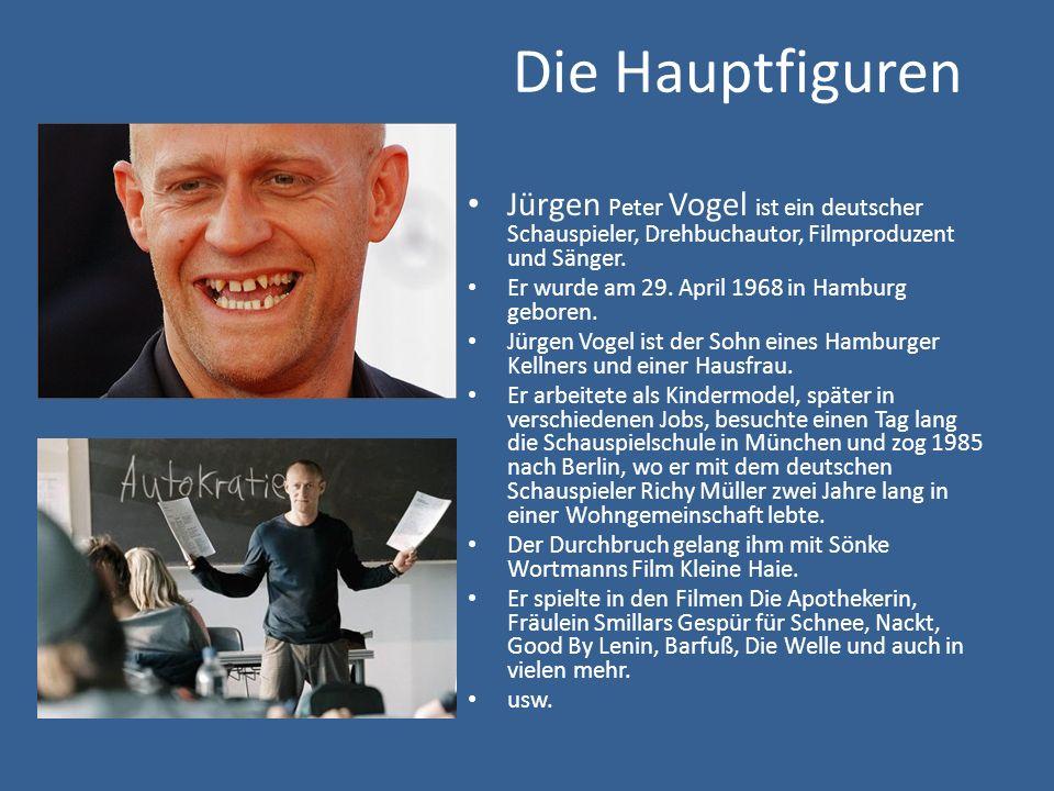 Die Hauptfiguren Jürgen Peter Vogel ist ein deutscher Schauspieler, Drehbuchautor, Filmproduzent und Sänger. Er wurde am 29. April 1968 in Hamburg geb