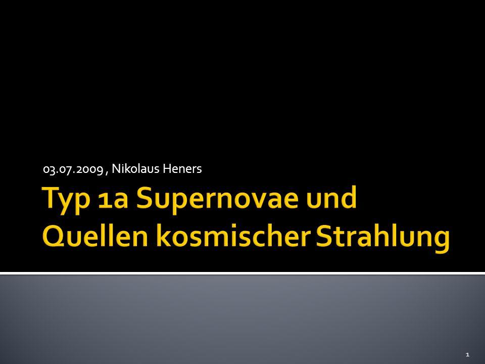 Merkmale der kosmischen Strahlung Spektrum Zusammensetzung Energiebetrachtung Astrophysikalische Quellen kosmischer Strahlung Leistungsfähigkeit möglicher Quellen Fermi-Beschleunigung Kandidaten für UHECR Sonnenfleckenpaare Pulsare Doppelsterne Supernovaexplosionen Supernovae vom Typ 1a Modelle mit Hochleistungsrechnern Häufigkeit Offene Fragen 2