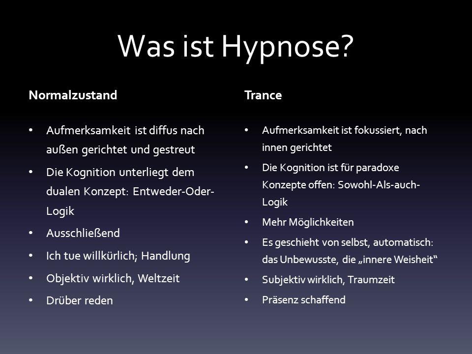 Verschiedene Begriffe für Trance o Konzentration: kaum ideodynamische Prozesse.