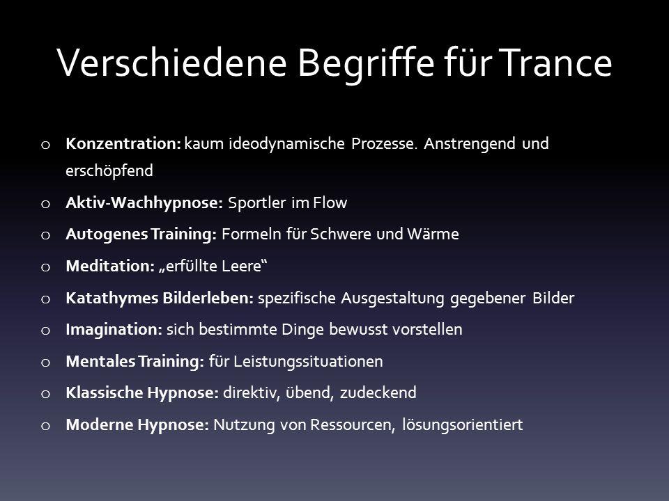Verschiedene Begriffe für Trance o Konzentration: kaum ideodynamische Prozesse. Anstrengend und erschöpfend o Aktiv-Wachhypnose: Sportler im Flow o Au