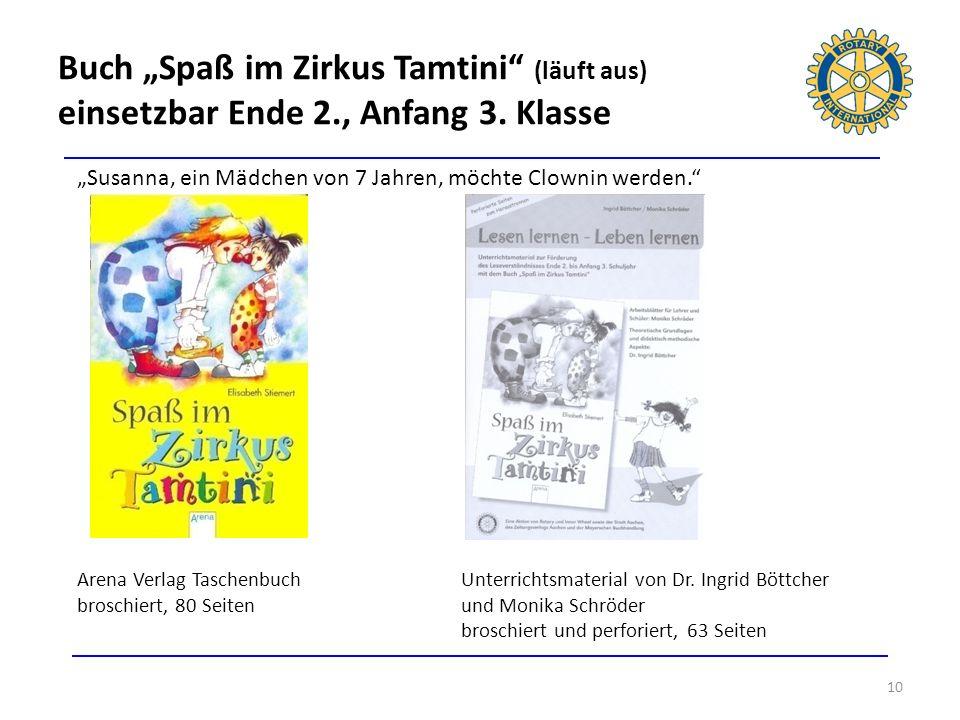 Buch Spaß im Zirkus Tamtini (läuft aus) einsetzbar Ende 2., Anfang 3. Klasse 10 Susanna, ein Mädchen von 7 Jahren, möchte Clownin werden. Arena Verlag