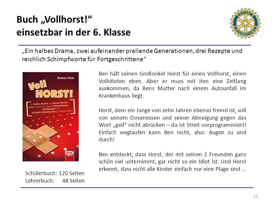 Buch Vollhorst! einsetzbar in der 6. Klasse 13 Ein halbes Drama, zwei aufeinander prallende Generationen, drei Rezepte und reichlich Schimpfworte für