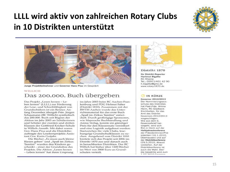 LLLL wird aktiv von zahlreichen Rotary Clubs in 10 Distrikten unterstützt 15