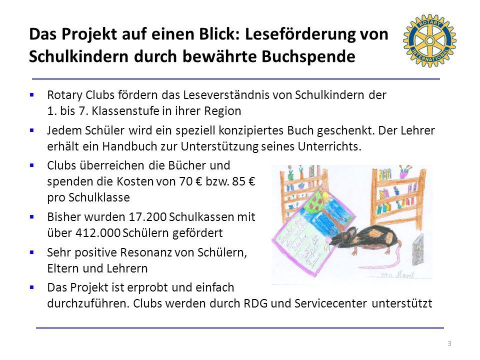 Das Projekt auf einen Blick: Leseförderung von Schulkindern durch bewährte Buchspende 3 Rotary Clubs fördern das Leseverständnis von Schulkindern der