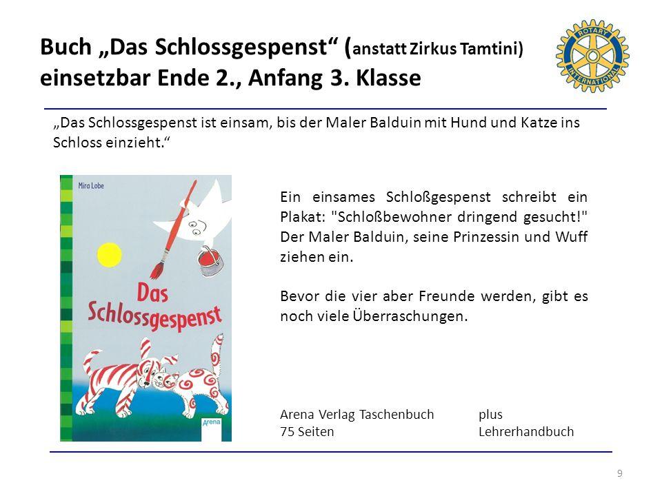 Buch Das Schlossgespenst ( anstatt Zirkus Tamtini) einsetzbar Ende 2., Anfang 3. Klasse 9 Das Schlossgespenst ist einsam, bis der Maler Balduin mit Hu