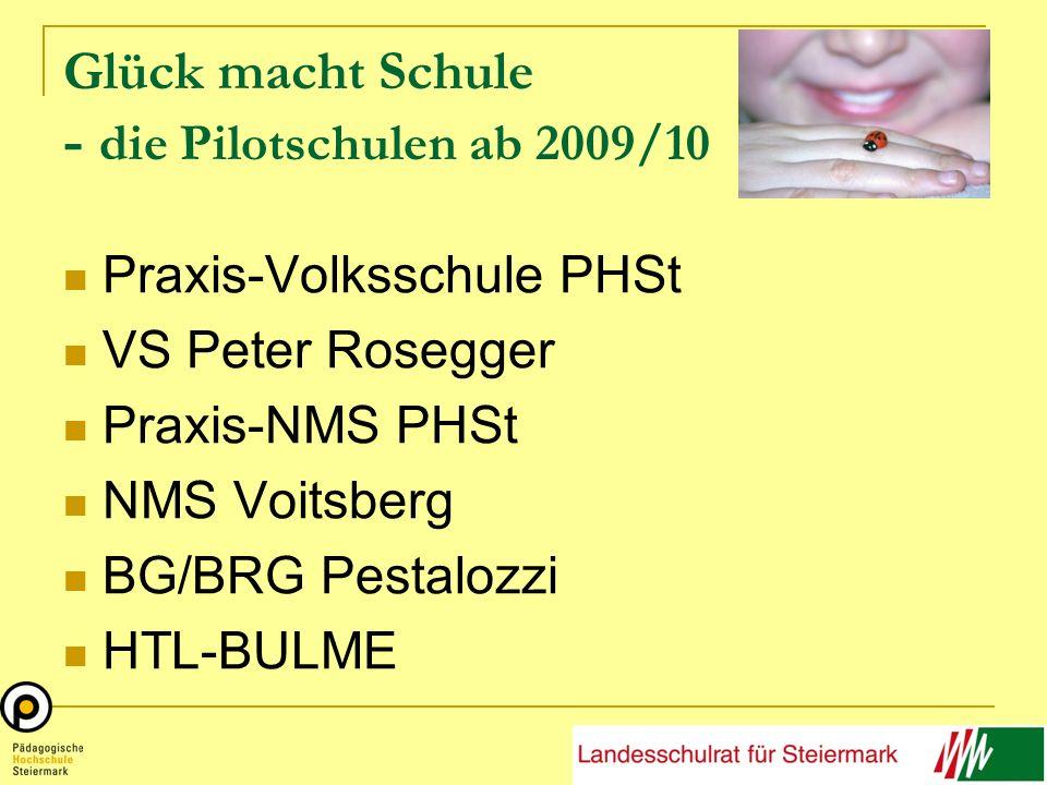 Glück macht Schule - die Pilotschulen ab 2009/10 Praxis-Volksschule PHSt VS Peter Rosegger Praxis-NMS PHSt NMS Voitsberg BG/BRG Pestalozzi HTL-BULME