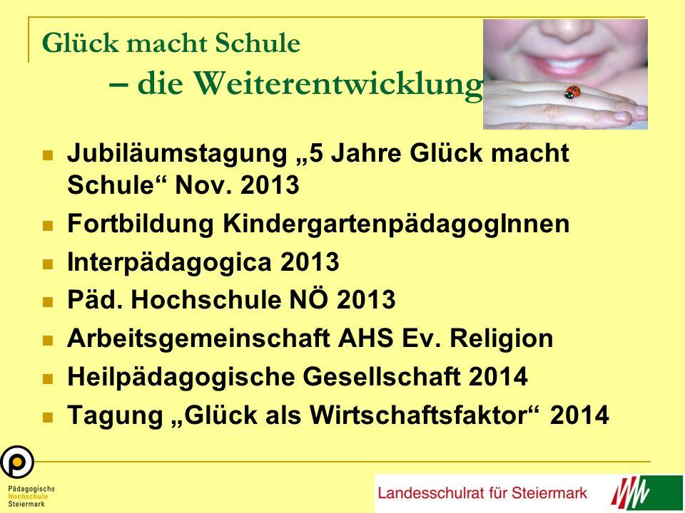 Glück macht Schule – die Weiterentwicklung Jubiläumstagung 5 Jahre Glück macht Schule Nov. 2013 Fortbildung KindergartenpädagogInnen Interpädagogica 2