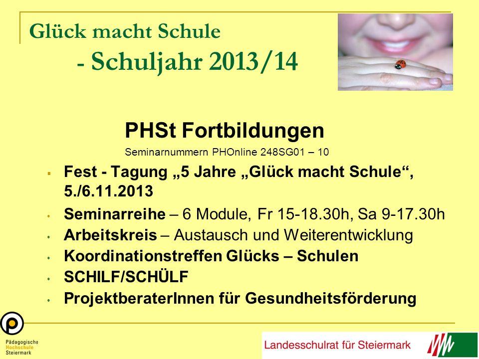 Glück macht Schule - Schuljahr 2013/14 PHSt Fortbildungen Seminarnummern PHOnline 248SG01 – 10 Fest - Tagung 5 Jahre Glück macht Schule, 5./6.11.2013