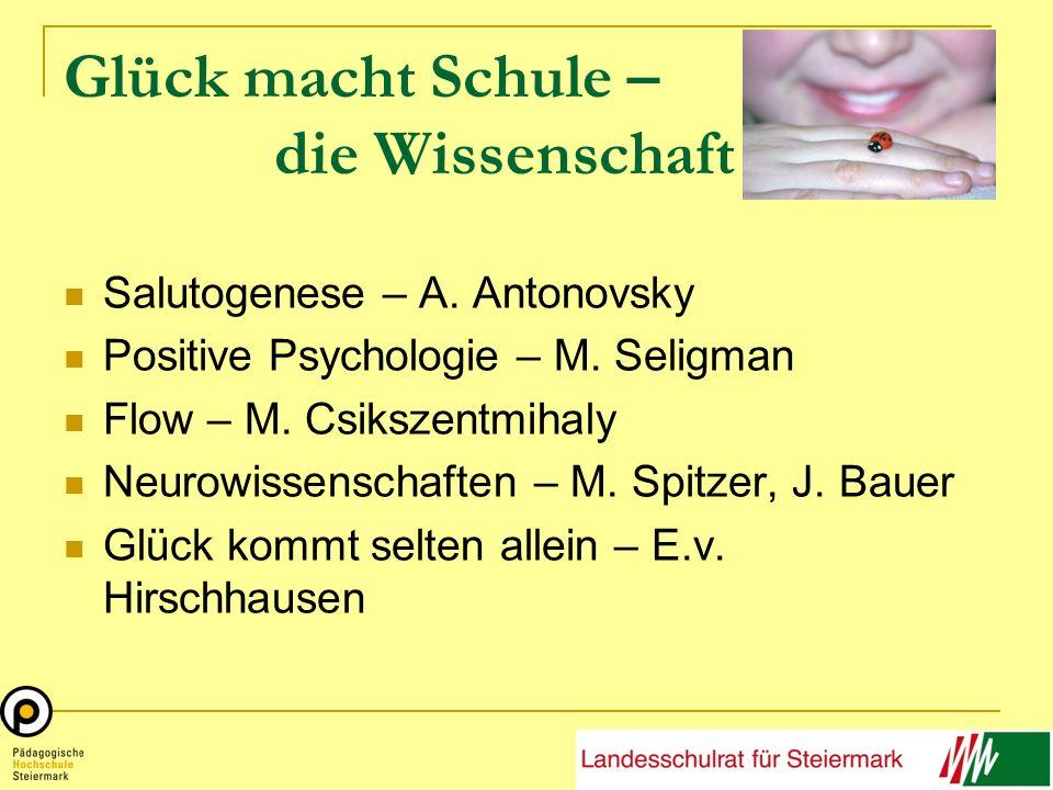 Glück macht Schule – die Wissenschaft Salutogenese – A. Antonovsky Positive Psychologie – M. Seligman Flow – M. Csikszentmihaly Neurowissenschaften –