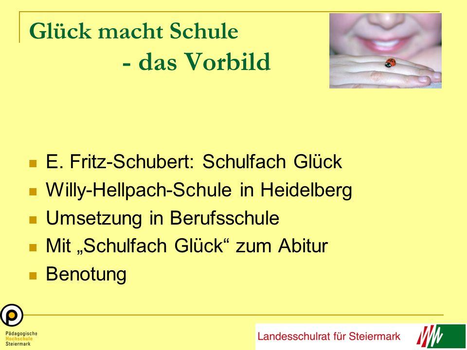 Glück macht Schule - das Vorbild E. Fritz-Schubert: Schulfach Glück Willy-Hellpach-Schule in Heidelberg Umsetzung in Berufsschule Mit Schulfach Glück