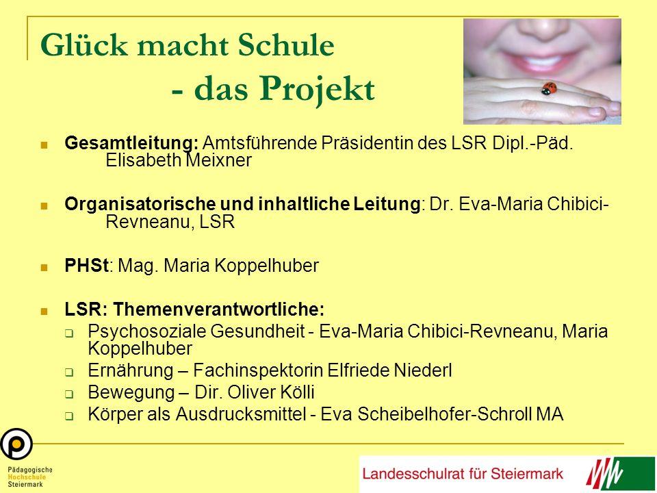 Glück macht Schule - das Projekt Gesamtleitung: Amtsführende Präsidentin des LSR Dipl.-Päd. Elisabeth Meixner Organisatorische und inhaltliche Leitung