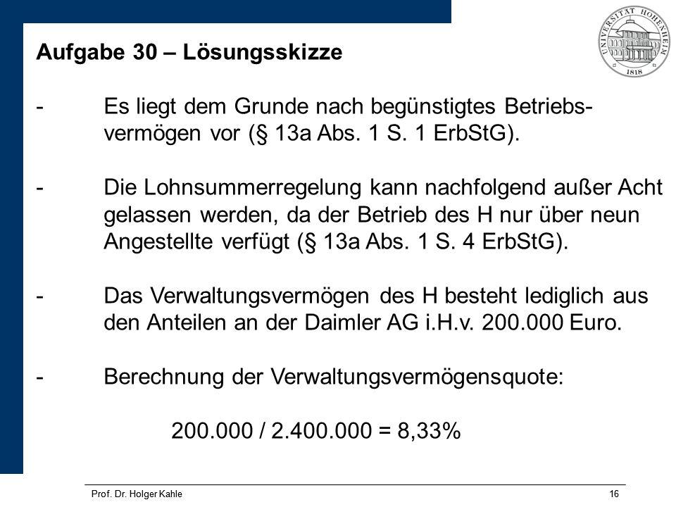 Prof.Dr. Holger Kahle16 Prof. Dr.