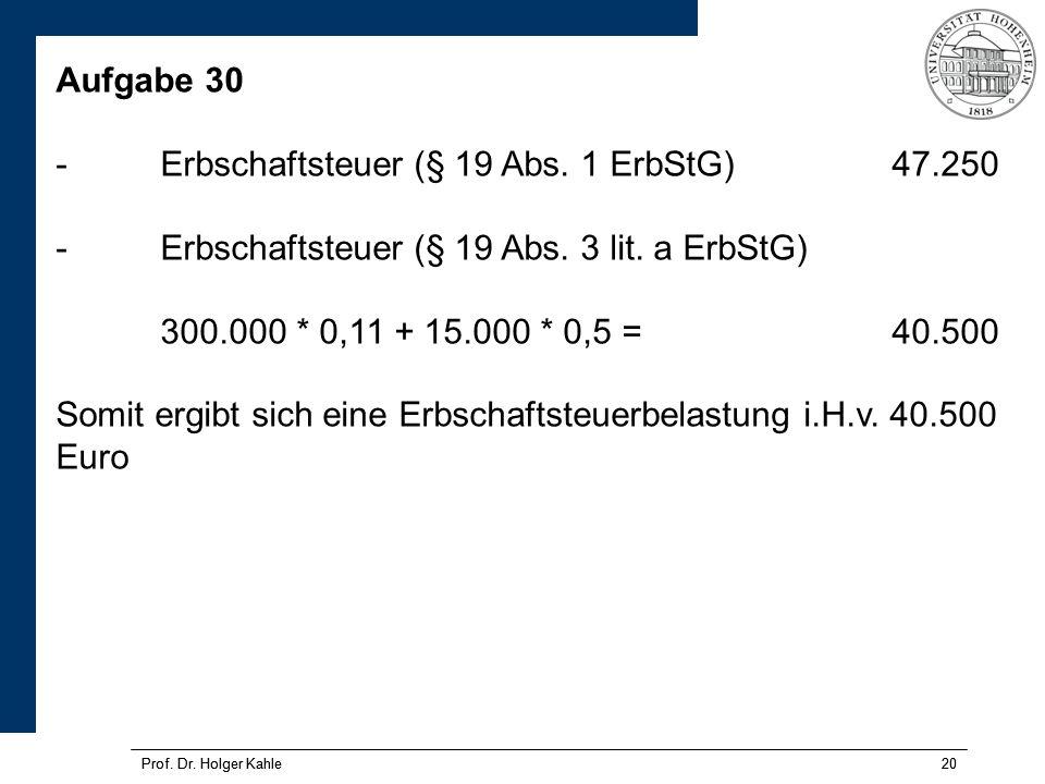 Prof.Dr. Holger Kahle20 Prof. Dr. Holger Kahle20 Aufgabe 30 -Erbschaftsteuer (§ 19 Abs.