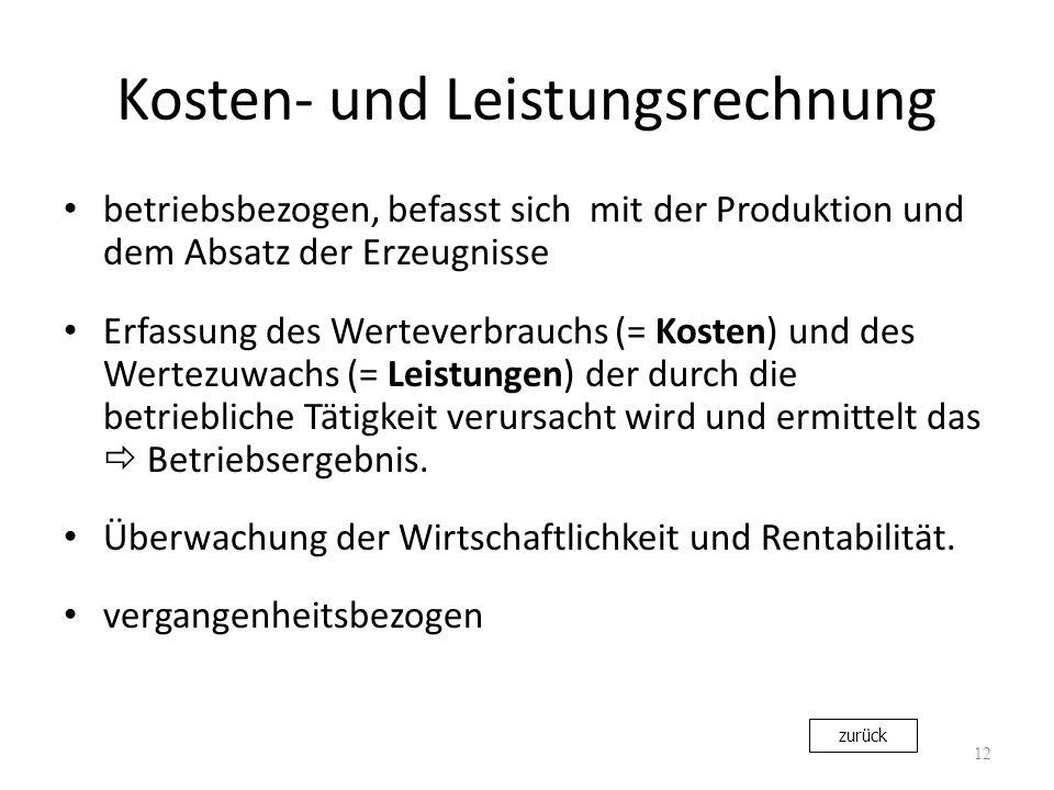 Kosten- und Leistungsrechnung betriebsbezogen, befasst sich mit der Produktion und dem Absatz der Erzeugnisse Erfassung des Werteverbrauchs (= Kosten)