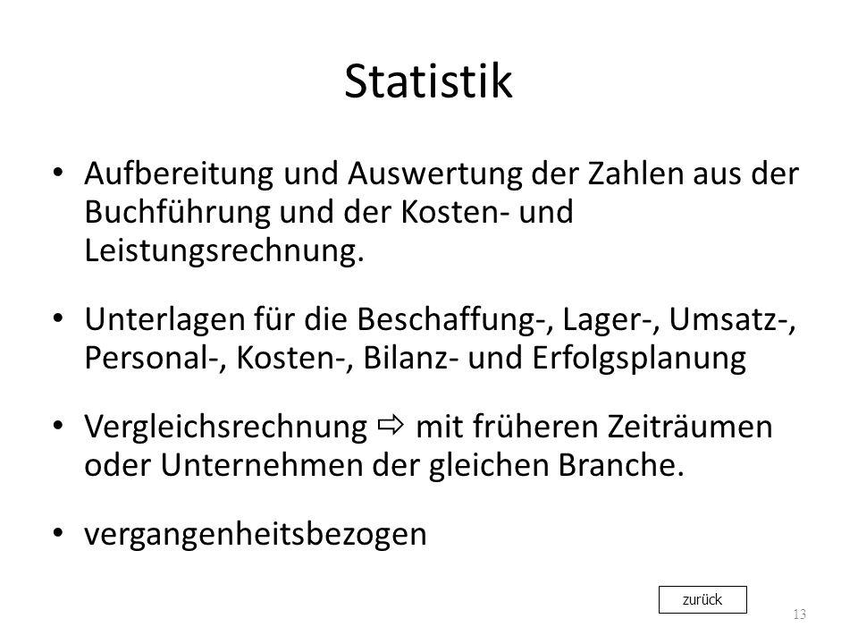 Statistik Aufbereitung und Auswertung der Zahlen aus der Buchführung und der Kosten- und Leistungsrechnung. Unterlagen für die Beschaffung-, Lager-, U