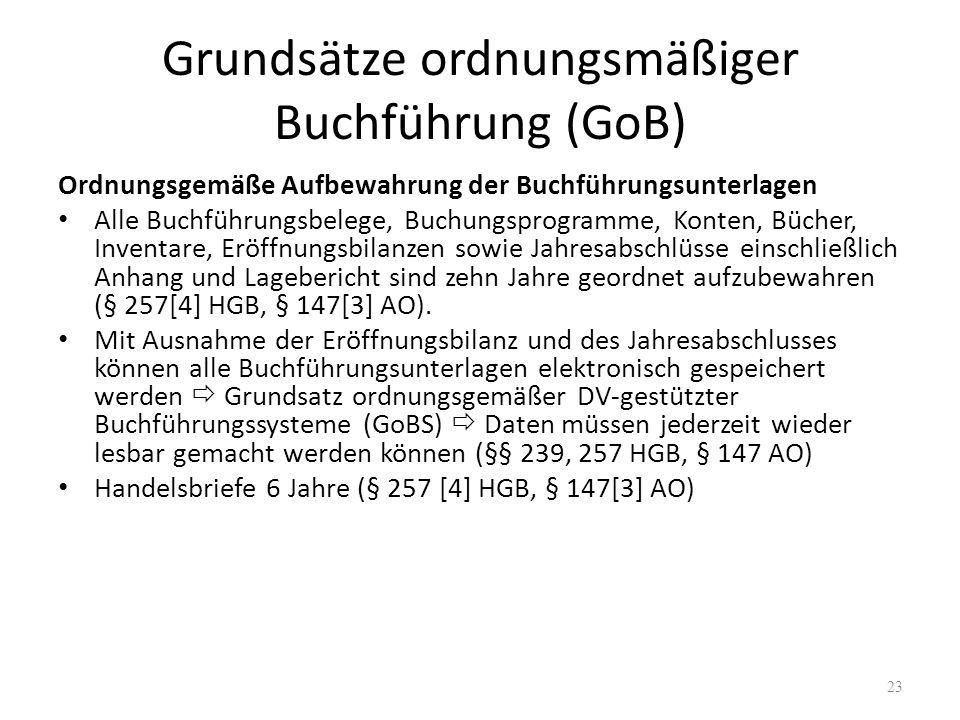 Grundsätze ordnungsmäßiger Buchführung (GoB) Ordnungsgemäße Aufbewahrung der Buchführungsunterlagen Alle Buchführungsbelege, Buchungsprogramme, Konten