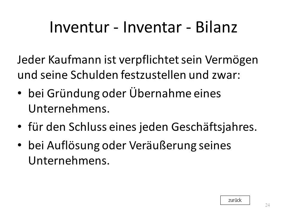 Inventur - Inventar - Bilanz Jeder Kaufmann ist verpflichtet sein Vermögen und seine Schulden festzustellen und zwar: bei Gründung oder Übernahme eine