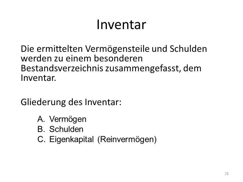 Inventar Die ermittelten Vermögensteile und Schulden werden zu einem besonderen Bestandsverzeichnis zusammengefasst, dem Inventar. Gliederung des Inve
