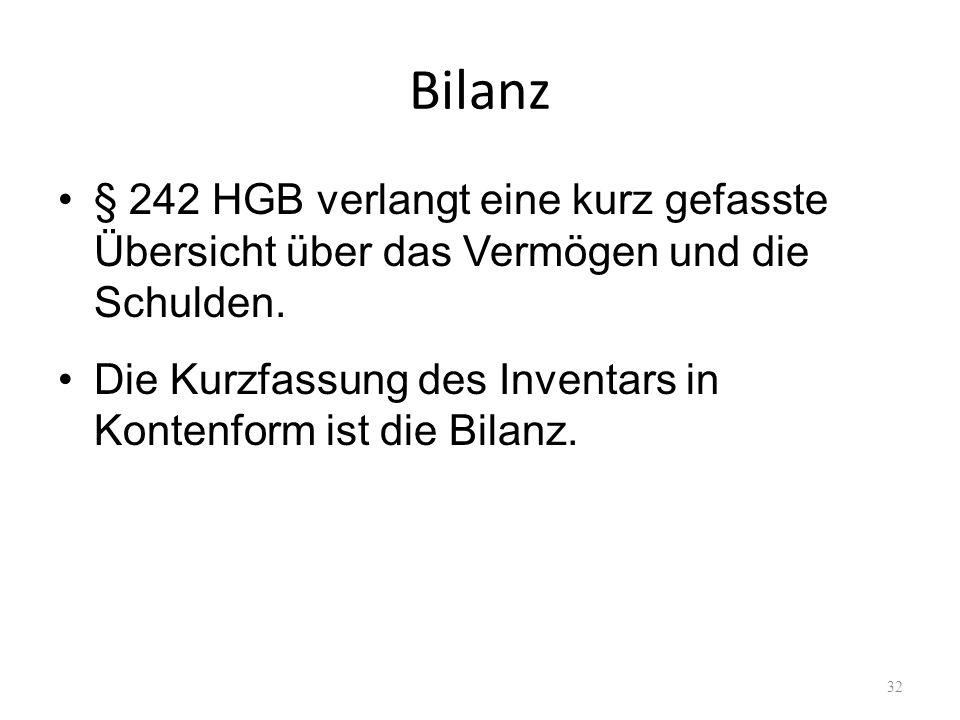 Bilanz § 242 HGB verlangt eine kurz gefasste Übersicht über das Vermögen und die Schulden. Die Kurzfassung des Inventars in Kontenform ist die Bilanz.