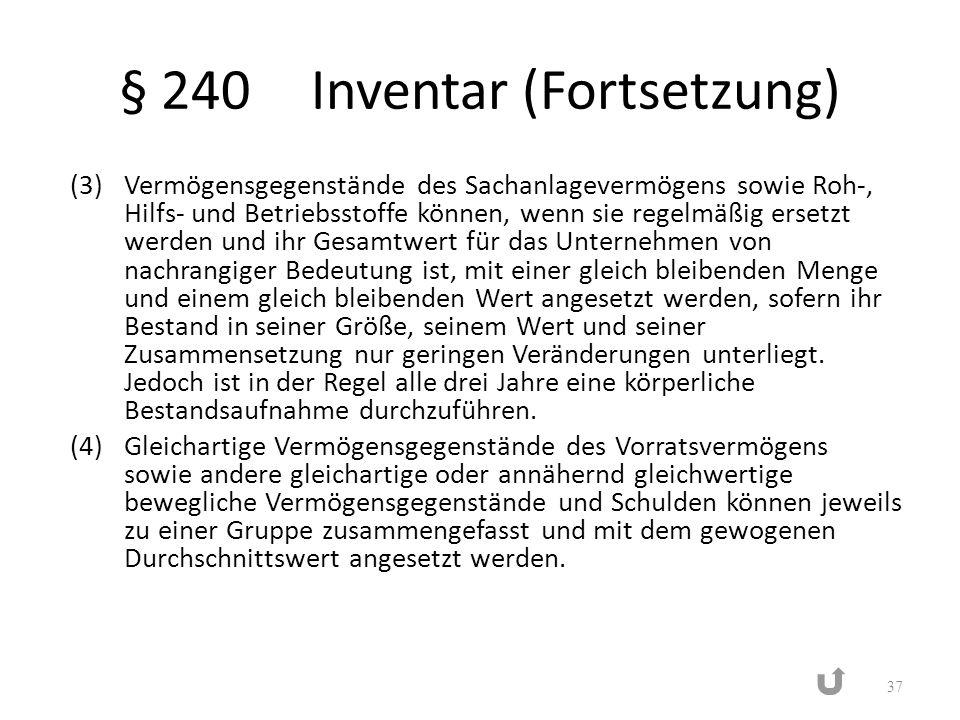 § 240Inventar (Fortsetzung) (3)Vermögensgegenstände des Sachanlagevermögens sowie Roh-, Hilfs- und Betriebsstoffe können, wenn sie regelmäßig ersetzt