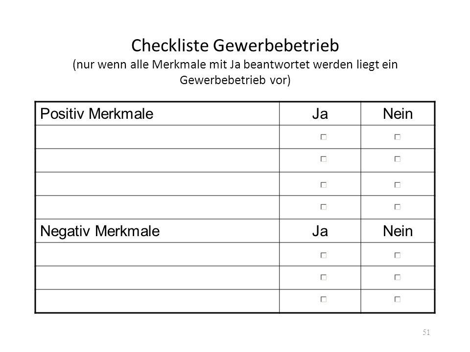 Checkliste Gewerbebetrieb (nur wenn alle Merkmale mit Ja beantwortet werden liegt ein Gewerbebetrieb vor) Positiv MerkmaleJaNein Negativ MerkmaleJaNei