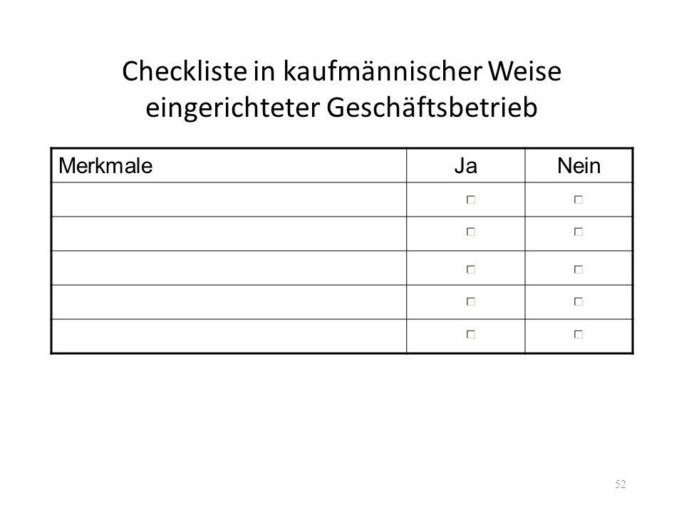 Checkliste in kaufmännischer Weise eingerichteter Geschäftsbetrieb MerkmaleJaNein 52