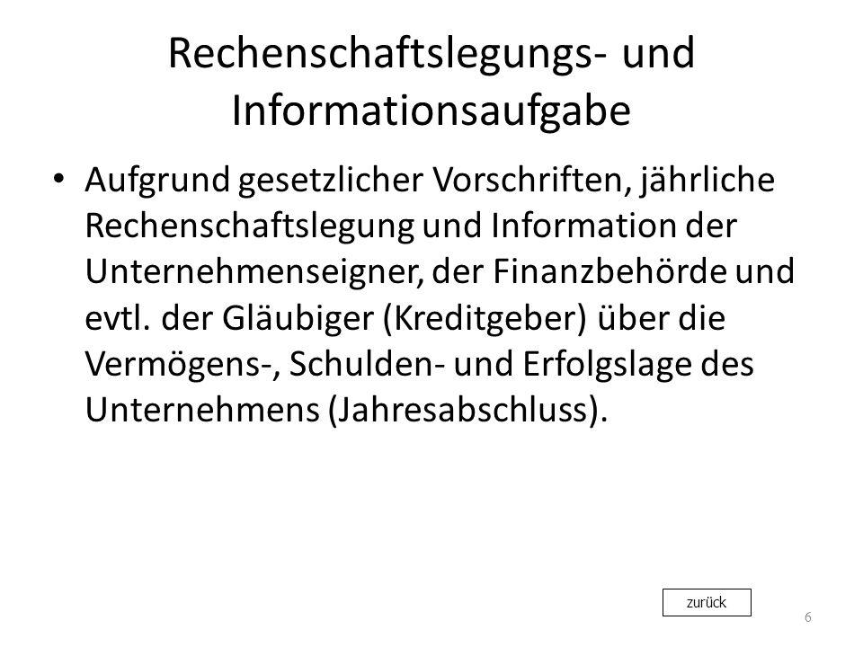 Rechenschaftslegungs- und Informationsaufgabe Aufgrund gesetzlicher Vorschriften, jährliche Rechenschaftslegung und Information der Unternehmenseigner