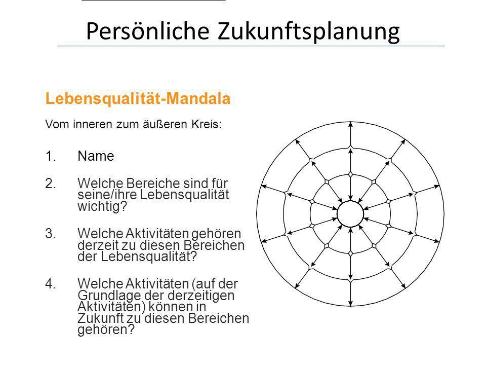 Lebensqualität-Mandala Vom inneren zum äußeren Kreis: 1.Name 2.Welche Bereiche sind für seine/ihre Lebensqualität wichtig? 3.Welche Aktivitäten gehöre