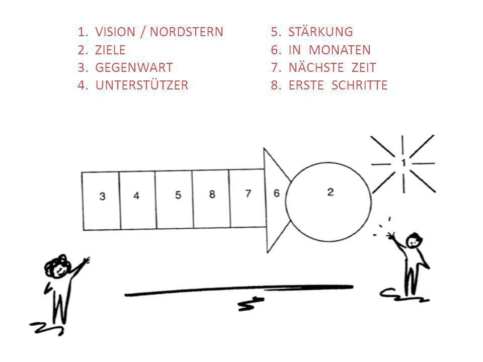 1. VISION / NORDSTERN5. STÄRKUNG 2. ZIELE6. IN MONATEN 3. GEGENWART7. NÄCHSTE ZEIT 4. UNTERSTÜTZER 8. ERSTE SCHRITTE