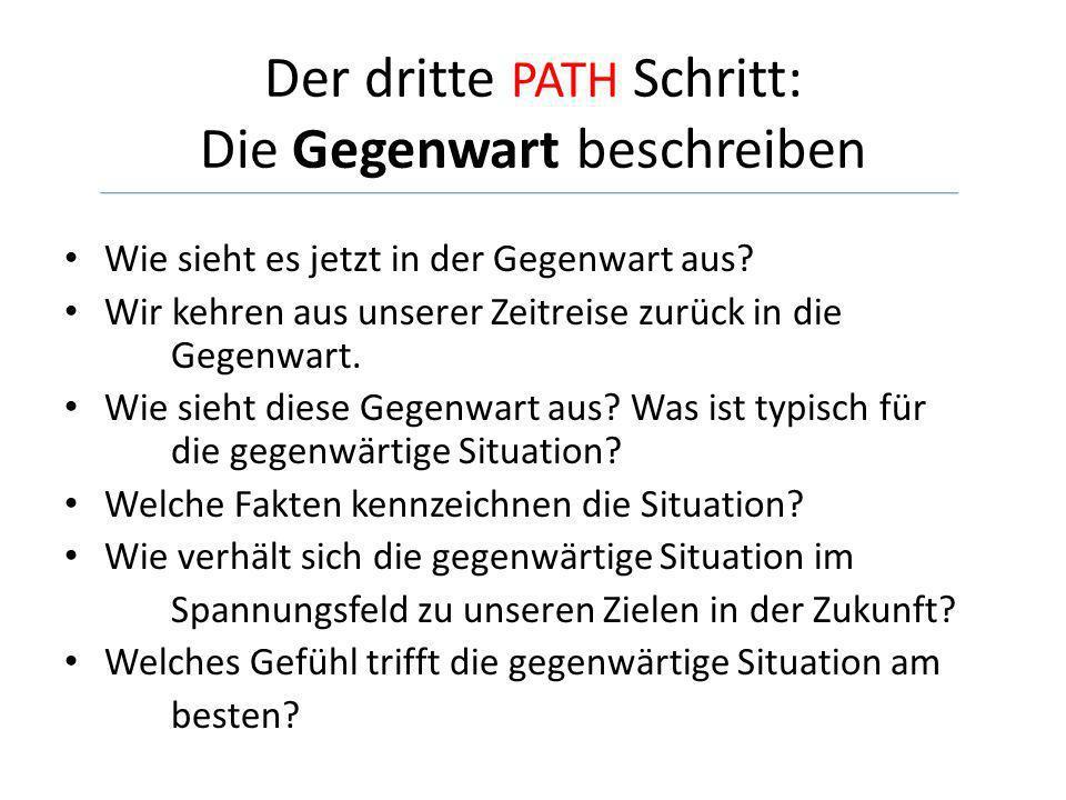 Der dritte PATH Schritt: Die Gegenwart beschreiben Wie sieht es jetzt in der Gegenwart aus? Wir kehren aus unserer Zeitreise zurück in die Gegenwart.