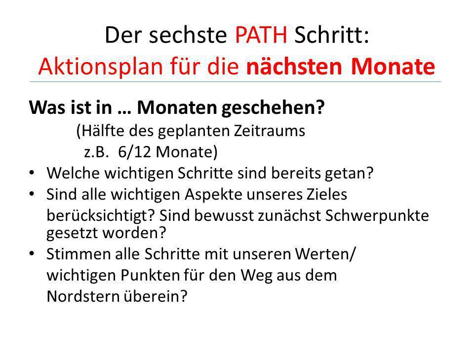 Der sechste PATH Schritt: Aktionsplan für die nächsten Monate Was ist in … Monaten geschehen? (Hälfte des geplanten Zeitraums z.B. 6/12 Monate) Welche