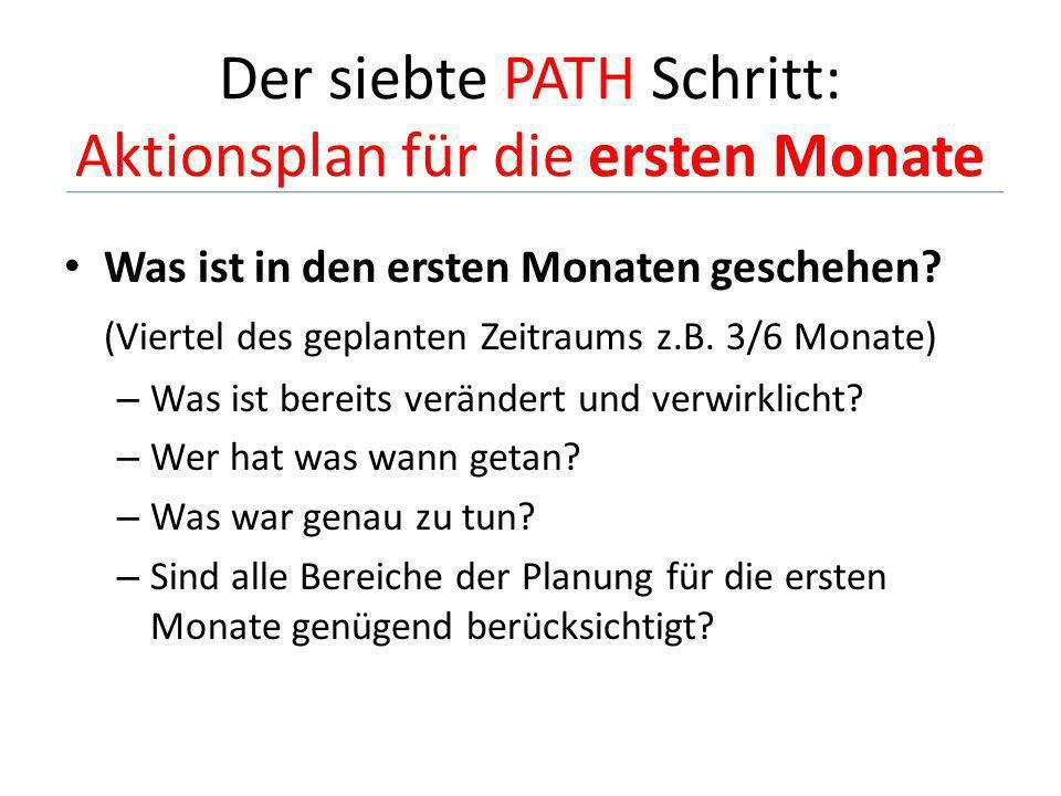 Der siebte PATH Schritt: Aktionsplan für die ersten Monate Was ist in den ersten Monaten geschehen? (Viertel des geplanten Zeitraums z.B. 3/6 Monate)