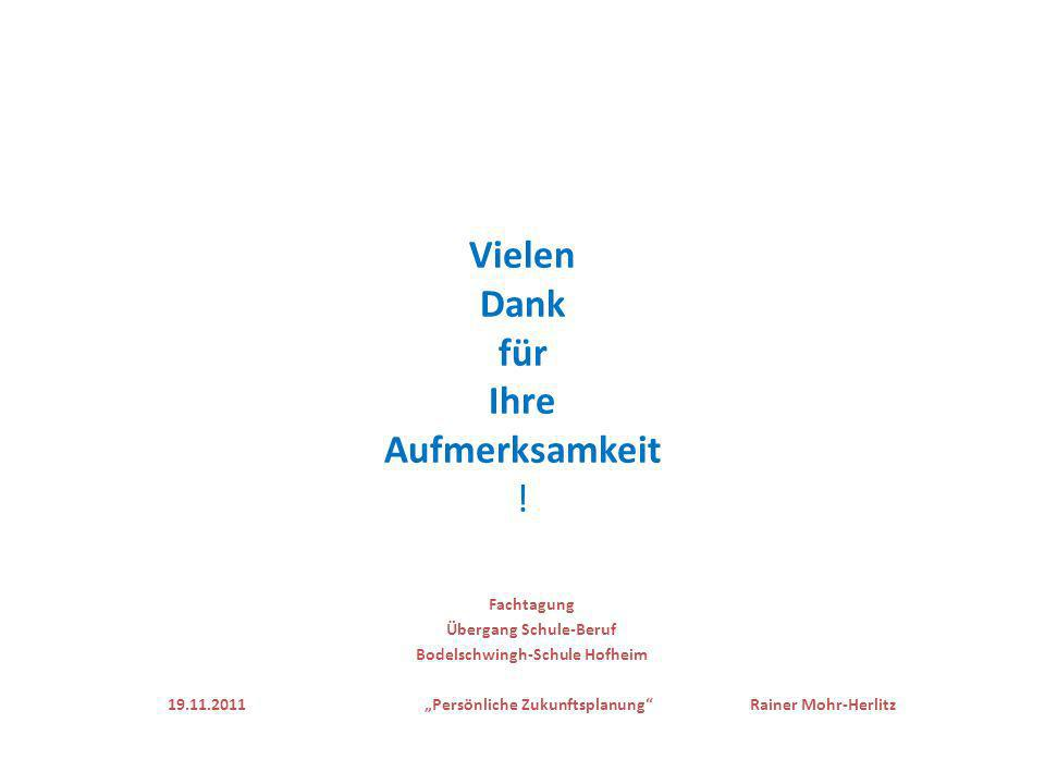 Vielen Dank für Ihre Aufmerksamkeit ! Fachtagung Übergang Schule-Beruf Bodelschwingh-Schule Hofheim 19.11.2011 Persönliche Zukunftsplanung Rainer Mohr