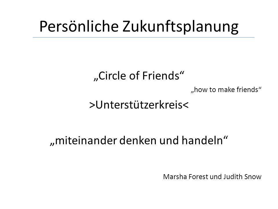 Persönliche Zukunftsplanung Circle of Friends how to make friends >Unterstützerkreis< miteinander denken und handeln Marsha Forest und Judith Snow