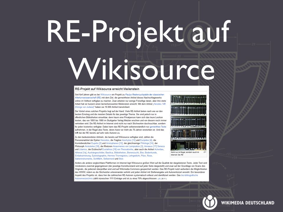 RE-Projekt auf Wikisource