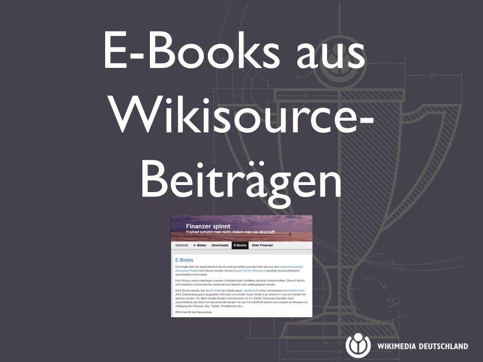 E-Books aus Wikisource- Beiträgen
