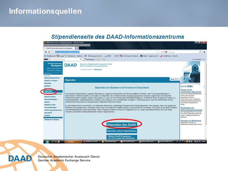 Informationsquellen Stipendienseite des DAAD-Informationszentrums
