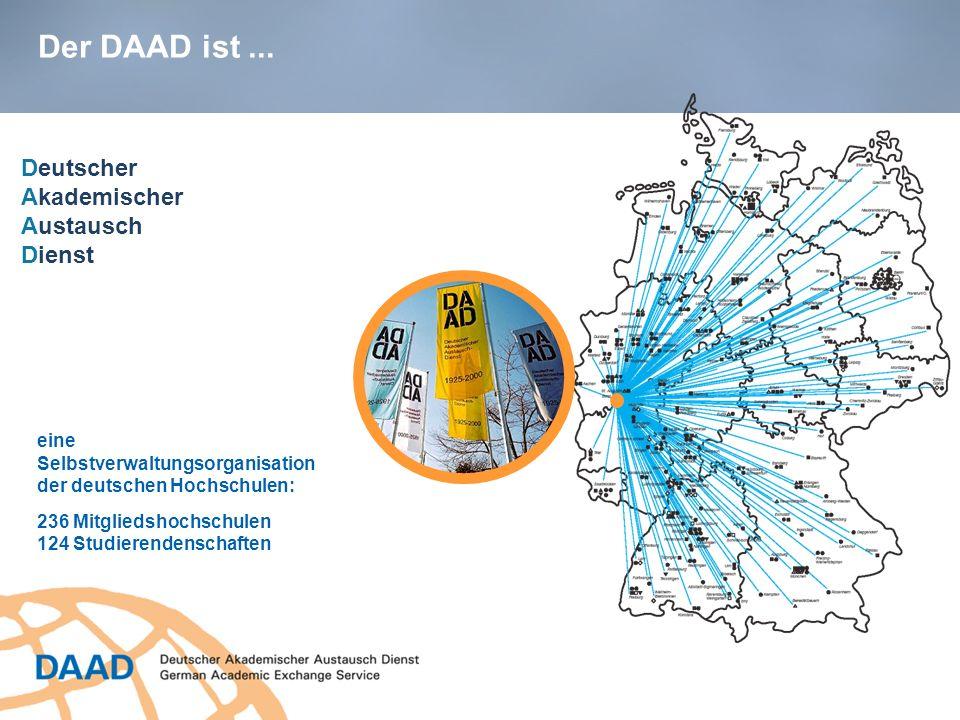 eine Selbstverwaltungsorganisation der deutschen Hochschulen: 236 Mitgliedshochschulen 124 Studierendenschaften Deutscher Akademischer Austausch Diens