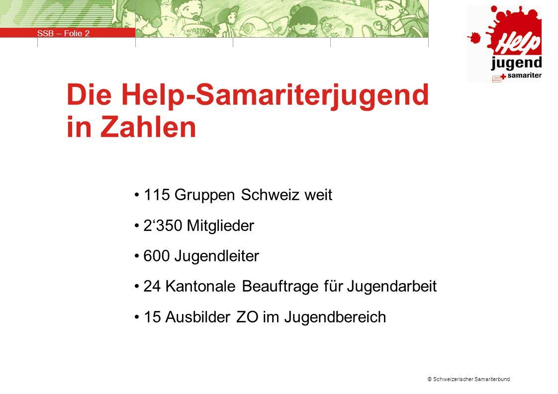 SSB – Folie 3 © Schweizerischer Samariterbund Ausbildung und Weiterbildung Die Ausbildung befähigt die Jugendleiter ihre Arbeit in den Jugendgruppen spannend und lehrreich zu gestalten.