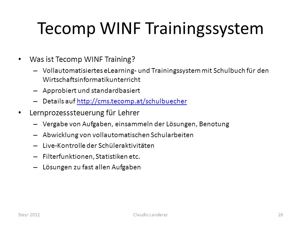Tecomp WINF Trainingssystem Was ist Tecomp WINF Training.