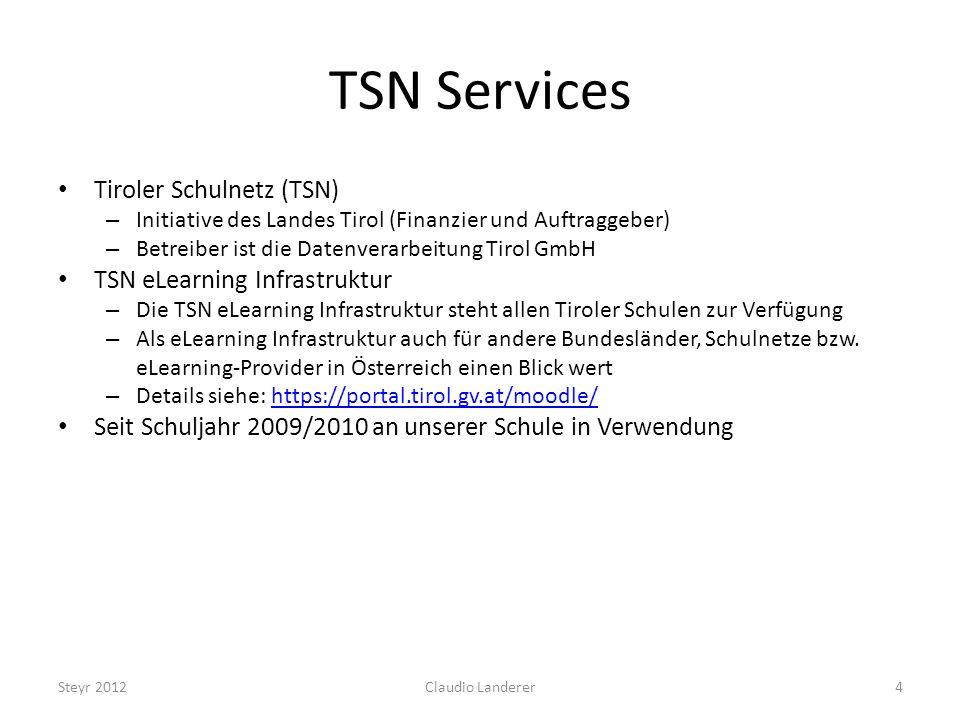 ELEARNING IM FACHUNTERRICHT Tecomp für WINF und IFOM Steyr 201225Claudio Landerer