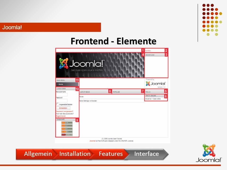 Joomla! Frontend - Elemente AllgemeinInstallationFeaturesInterface
